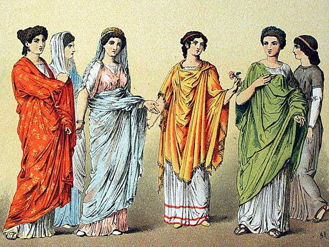 Römische-Frauenkleider-Zeichnung